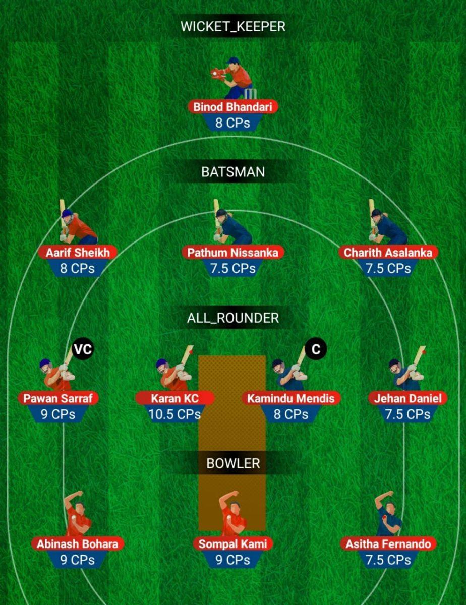 South Asian Games 2019 - NEP vs SL U23 Fantasy Team